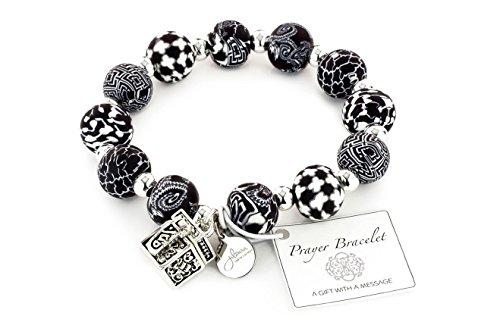 Beaded Stretch Prayer Bracelet (Black & White)