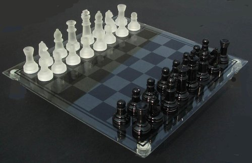 Quality Glass Chess Set with Frosted and Black Chess Pieces with Black/Clear Glass Chess Board