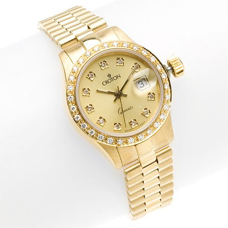 Croton Womens 18K Gold & Diamond Watch