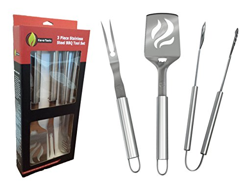 BBQ Grill Tools Set - Heavy Duty 20% Thicker Stainless Steel - Professional Grade Barbecue Accessories - 3 Piece Utensils Kit Includes Spatula Tongs & Fork by Cave Tools (Bbq Pit Latches compare prices)