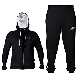 4fit Mens Fleece Track Suit with Hoodie & Bottoms (large, Black)