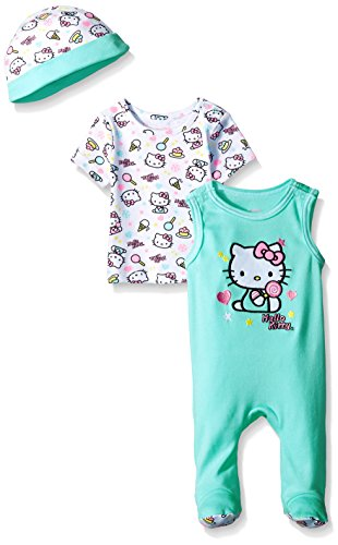 Hello-Kitty-Baby-Girls-3-Pc-Set-Cap-Footie-and-T-Shirt