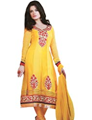 Exotic India Gold-Fusion Flaired Kameez Suit With Embroidery On - Multi-Coloured