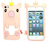 Pink 3D Pig Cartoon Animal Silicone Case Cover for ipod touch 5