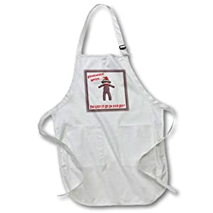 3dRose apr_13474_2 Sock Monkey-Medium Length Apron, 22 by 24-Inch