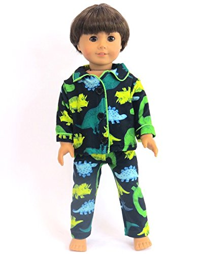 Green Yellow Dino Pajamas For Boys - 18 Inch Doll Clothes - Fits 18