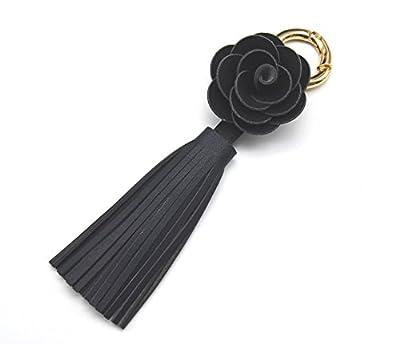 PT712M - Porte-Clés / Bijou de Sac Fleur Simili Cuir avec Franges Noir - Mode Fantaisie