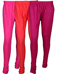 Fashion And Freedom Women's Cotton Leggings Pack Of 3_FFCL_M1PP1_MAGENTA-PINK-PURLE_FREESIZE