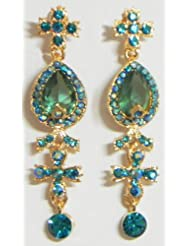 Light Green With Cyan Stone Studded Dangle Earrings - Stone And Metal
