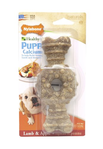 Nylabone Long Lasting Wolf Lamb and Apple Flavored Ring Bone Puppy Dog Treats (Nylabone Omega 3 compare prices)