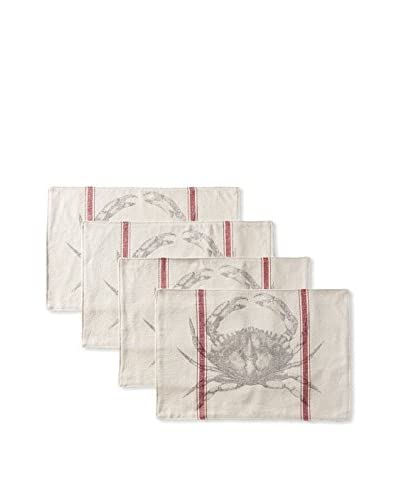 French Laundry Set of 4 Crab Placemats, Red