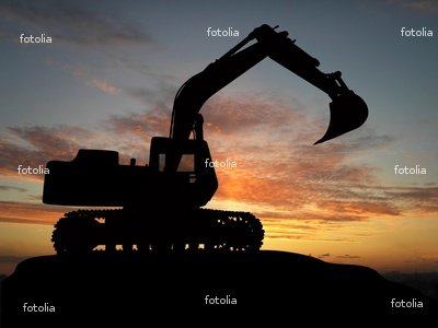 Wallmonkeys Peel and Stick Wall Graphic - Heavy Excavator over Orange Background - 24