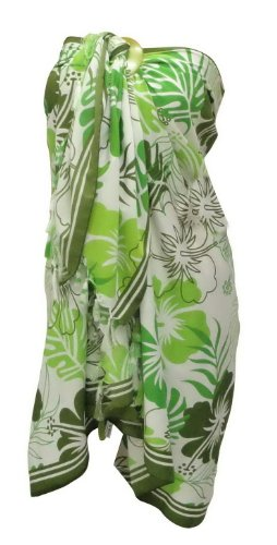 La Leela Allover Floral Printed Sarong Pareo White Green