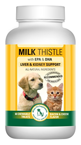 Milk Thistle Liver & Kidney Supplement for DOGS and CATS with DHA, EPA, Silymarin, and Vitamin B (B1 B2 B6 B12) to Prevent Liver and Kidney Disease - 60 Chewable Treats - Bacon Cheese Flavor
