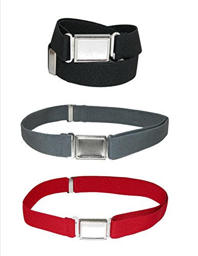 CTM® Kids Elastic 1 Inch Adjustable Belt with Magnetic Buckle (Pack of 3 Colors), Black / Charcoal / Red