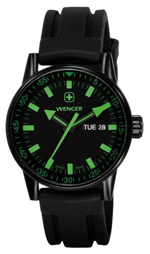 Swiss Watches:Wenger Men's 70172 Commando Day Date XL Black Rubber Strap Watch Images