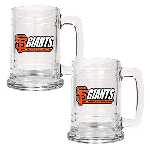 Mlb Sports Fan San Francisco Giants Team Logo 2Pc 15Oz Tankard Glass Beer Mug Drinkware Set Clear