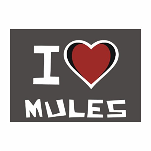 Teeburon I love Mule Pack of 4 Stickers