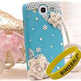 Bingsale 3d Bling Crystal Rhinestone Flower Case Cover Skin for Samsung Galaxy S3 SIII i9300 (Color: Blue, yellow,Black, Red) + Screen Protector Shield BS1 (Blue)