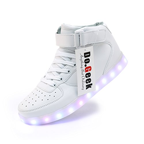 DoGeek-Unisex-7-Colors-USB-Carga-LED-Luz-Luminosas-Flash-Zapatos-Zapatillas-de-Deporte-Para-Hombres-Mujeres-Blanco