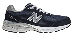 New Balance - Mens 990v3 Stability Running Shoes, Size: 8 D(M) US, Color: Navy with Grey & White