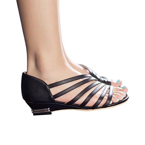 Milesline Summer Women's Low Heel Wedge Gladiator Sandal