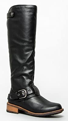Delura ASHBERRY / Qupid RELAX-39 Basic Casual Buckle Knee High Riding Boot black crinkle pu size 5