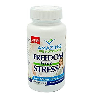 NEW Stress Relief Supplement Made with All Natural Herbal Ingredients & Whole Foods - Non GMO Anti Anxiety Relief Pills - Vegan and Vegetarian Friendly -Contains Valerian Root Wild Lettuce 60 Capsules