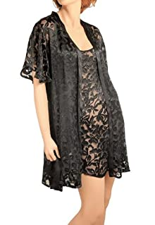 Nyteez Womens Peignoir Nightgown and Robe Set - Silk Burnout (L, Caviar)