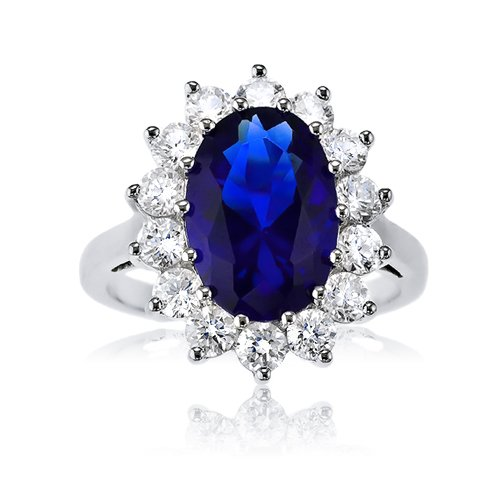 Bling Jewelry Sterling Silver CZ Blue Sapphire Royal Engagement Ring Kate Middleton Style Actual Size