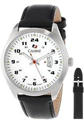 Calibre Men's SC-4T1-04-001SL Analog Quartz Black Rubber and Leather Watch