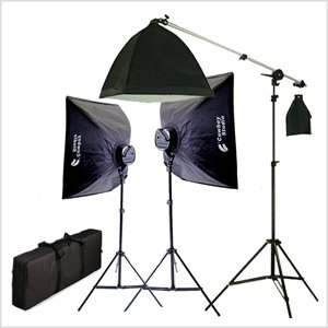 CowboyStudio 2275 Watt Digital Video Continuous Softbox Lighting Kit/Boom Set with Carrying Case - 2 Light stands, 2 Softboxes, 1 Hair Light Kit