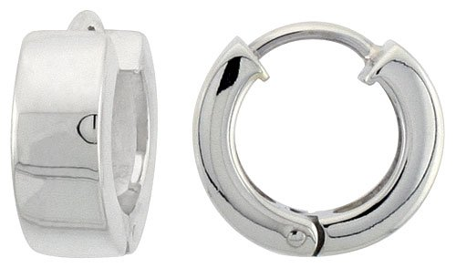 Sterling Silver Huggie Earrings Round Shape Flawless Finish, 1/2 inch