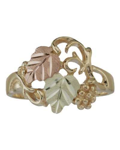 Womens 10k Yellow Gold, 12k Pink Gold and 12k Green Gold Grape Leaf Black Hills Gold Motif Ring, Size 5
