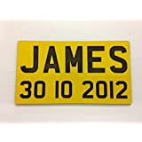 ENGRAVED NP NUMBER PLATES FOR CHILDRENS LITTLE TIKES COZY COUPE RIDE ON TOYS (YELLOW)