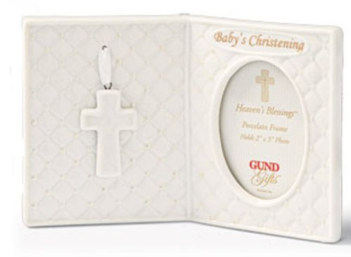 "Gund Baby - Heaven's Blessings Porcelain Christening Frame - 2"" x 3"" - 1"