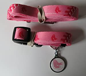 Boston Red Sox PINK Pet Set Dog Collar Leash ID Tag SMALL by Hunter