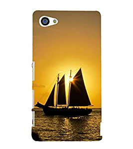 Sun and Ship in See 3D Hard Polycarbonate Designer Back Case Cover for Sony Xperia Z5 Compact :: Sony Xperia Z5 Mini