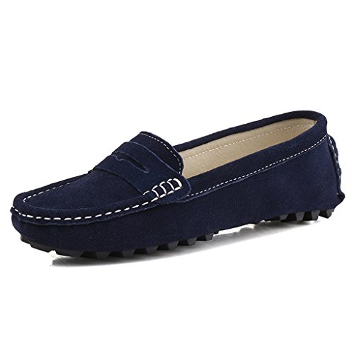 808-2lan11 SUNROLAN Rebacca Women's Suede Leather Driving Moccasins Slip-On Penny Loafers Boat Shoes Flats Blue 11 B(M) US