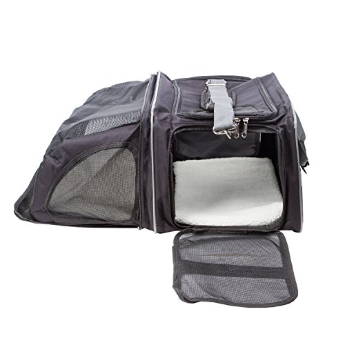 Pettom 16x11x9 Inches Expandable Foldable Soft-sided Travel Carrier for Dog and Cat Black