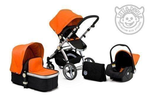 Black & Orange Carrera Sport 3-in-1 Baby Travel System/Pushchair/Pram/Buggy/Stroller