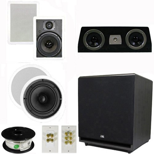 """Theater Solutions 5.1 Home Theater 8"""" And 6.5"""" Speaker Set With Center, 15"""" Powered Sub And More Ts6W8Cc51Set9"""