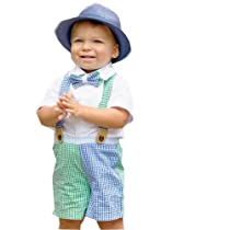 Mud Pie Baby-Boys Infant 3 Piece Gingham Short Button Down and Bow Tie Set, Green/Blue, 12-18 Months