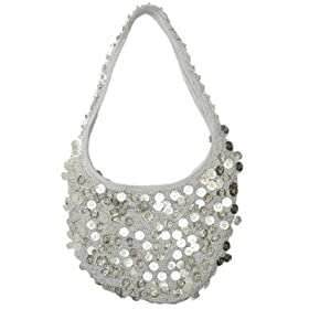 Sequin Handbag - Big Hobo Style by Denise Grace - silver color