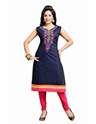 Ritu Creation Women's New Silk Stitched Chudidar Suit With Embroided Work (Navy Blue) - B016UVMK7S