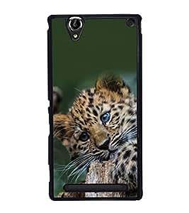 printtech Leopard Cub Cute Back Case Cover for Sony Xperia T2 Ultra , Sony Xperia T2 Ultra Dual