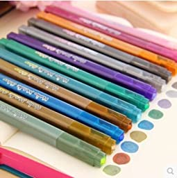 12 Pcs/lot Metallic Color Pen Paint Marker Highlighter for Art Brush Foto Kawaii Stationery Novelty Copic School Supplies