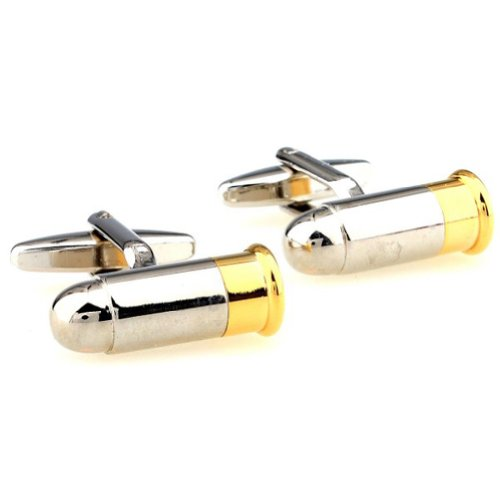 Beour White-gold-plated-silver Gold and Silver Bullet Copper Cufflinks