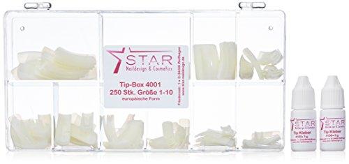 Cosmetici e Nail Design Star Tip Box 250 pezzi, dimensione del 1-10 europeo forma 2 x 3 g di colla punta