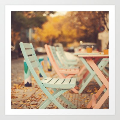 Society6 - Dream Autumn (Pink And Blue Coffee Shop Chairs On … Wall Poster / Art Print By Ac Photography